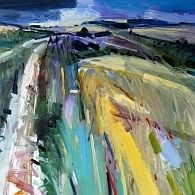 Beautiful abstract landscape painting in oil. Amazing bright vivid colours and interesting perspective. I love the sketchy, rough brush strokes which give life and energy to the painting. Wild Summer Walk Oil on Board Estate of Peter Iden # 2 Abstract Landscape Painting, Landscape Drawings, Abstract Painters, Seascape Paintings, Landscape Art, Landscape Paintings, Oil Paintings, Art Drawings, Art Plastique