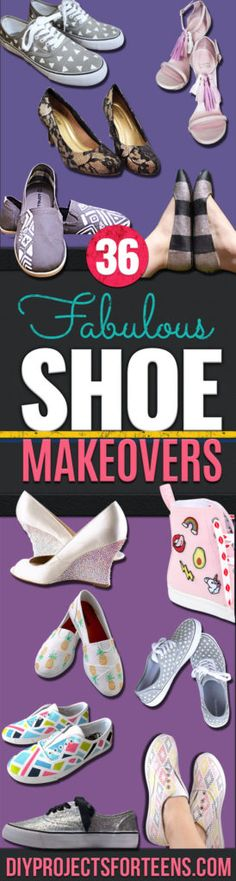 DIY Shoe Makeovers - Cool Ways to Update, Decorate, Paint, Bedazle and Add Sparkle to Your Flats, Pumps, Tennis Shoes, Boots and Boring Shoes - Cool Crafts and DIY Shoe Ideas for Teens and Adults http://diyprojectsforteens.com/diy-shoe-makeovers