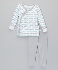 Loving this Blue Mustache Fold-Over Top & Leggings - Infant on #zulily! #zulilyfinds