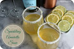 This Sparkling Amaretto Sour is the perfect chic cocktail for your next soiree or a casual brunch with friends.   http://cookinginstilettos.com/sparkling-amaretto-sour/  #LaMarcaSparkle  #AD