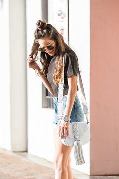 back to school, crop top with high waisted bottoms, trendy edgy, summer style, cutoffs, summer outfit ideas, levis wedgie cutoff shorts, casual style, summer weekend style