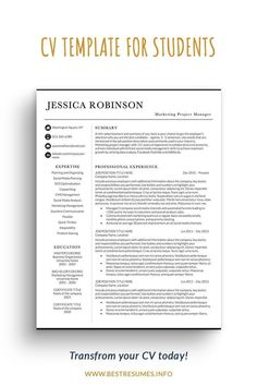 This CV template for students will save much time and energy. It's easy to personalise and freshen up your student CV while still allowing you to look like a modern professional! With the instant CV template download, you get a resume package with a one-page student CV template, two-page CV template, matching cover letter and references templates, 2000 CV icons to choose from and a letterhead template. You also get an actionable CV resume checklist.