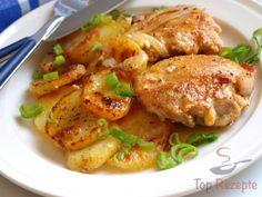 Hähnchenstücke und Kartoffeln mit Sahne überbacken