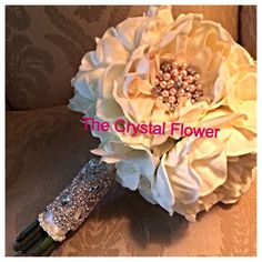 peony wedding bouquet | Ivory peony wedding bouquet with brooches and crystal bouquets brooch ...