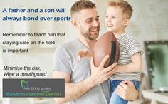 A father and a son will always bond over sports. Remember to teach him that staying safe on the field is important. Minimise the risk, wear a custom fitted mouthguard. Call 07 3414 3999 to schedule an appointment for a consultation with Dr. Contact Sport, Mouth Guard, Father And Son, Good Mood, Self Esteem, Vulnerability, Trauma, Schedule, Bond