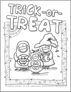 Trick-Or-Treat Halloween Coloring Page