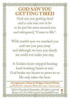 Funeral / Memorial Prayer Card Back $1.45
