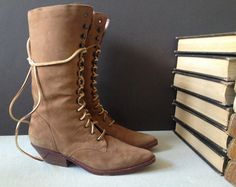 Vtg 80s Brazil // Suede Leather Lace Up Mid by JansVintageStuff, $76.00