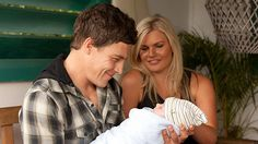Brax, Ricky and baby Harley- Home & Away Bonnie Sveen, Home And Away Cast, Tv Quotes, Love Home, Tv Shows, It Cast, People, Life, Seas