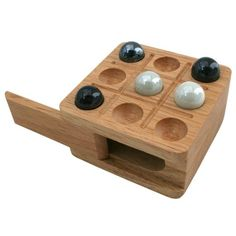 Zachary Travel Tic-Tac-Toe Board Game with Light Wood Board and Marble Pieces - 3 Inch Set