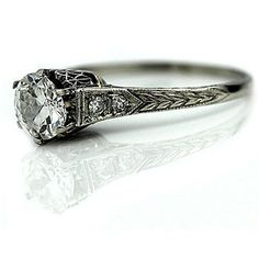 antique engagement ring in platinum. #weddings