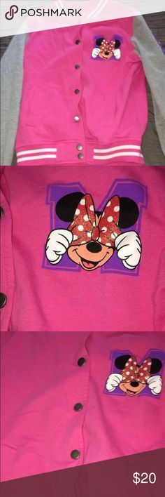 Kids Minnie Mouse jacket A Pink Minnie Mouse jacket that was never worn.                   Inspired by Disney that was bought at Disney world.              Offers are accepted, reasonable offers will be looked at:).         Bundles will also be looked at and given reasonable prices. Disney Jackets & Coats Jean Jackets