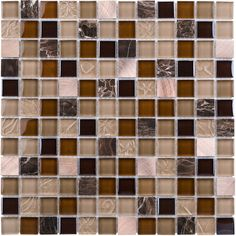 Elida Ceramica Coral Light Uniform Squares Mosaic Glass/Metal/Stone Marble Wall Tile (Common: 12-in x 12-in; Actual: 11.75-in x 11.75-in)