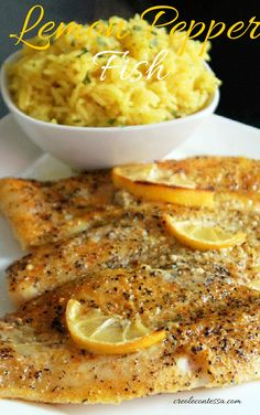 Lemon Pepper Fish with Lemon Butter Rice-Creole Contessa.guess this is today's dinner Lemon Recipes, Rice Recipes, Cooking Recipes, Fish Recipes Lemon Pepper, Recipies, Fish Recipes With Lemon, Meat Recipes, Butter Rice, Lemon Butter