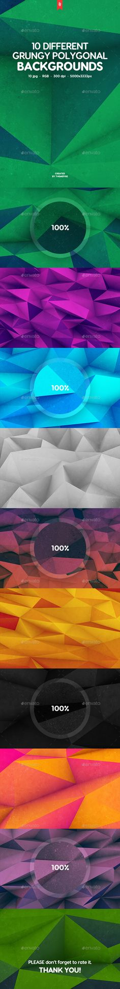10 Different Grungy Polygonal Backgrounds by themefire This pack contains 10 jpg different abstract grungy 3d realistic polygon backgrounds for your projects. You can use these backgrou