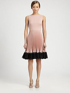 Fancy attire for Cordillera, Colorado- Valentino Lace-Trimmed Techno Couture Pliss Dress