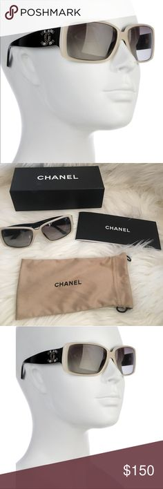 47b955800452 Spotted while shopping on Poshmark  Chanel sunglasses black beige logo 5114  crystal!