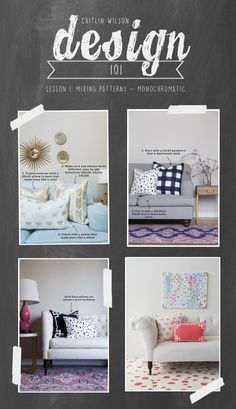 Caitlin Wilson   Design 101: Mixing Patterns- A Monochromatic Look