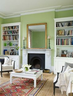 Mylands Colours of London® paints are designed to suit all rooms. Our range of interior colours are suitable for drawing room walls and ceilings Mint Green Decor, Green Home Decor, Living Room Shelves, Living Room Paint, House Color Schemes, House Colors, Colour Schemes, Home Interior Design, Interior Decorating