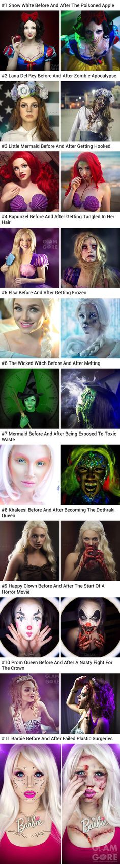 Glam and Gore, Mykie - Makeup Artist Shows The Horrifying Fate Of Disney Princesses And Pop Icons Looks Halloween, Halloween Cosplay, Fall Halloween, Halloween Costumes, Halloween Mermaid, Dark Costumes, Halloween Series, Helloween Make Up, Makeup Fx
