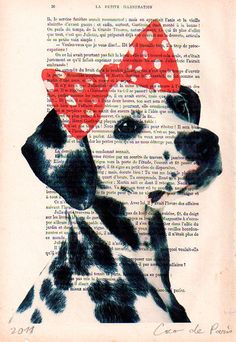Portrait Print Digital Giclee Acrylic Painting Illustration Dog Art Print  Mixed Media Art Valentine's Day: CocoSpots Dalmatian