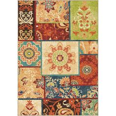 """Threadbind Clarence Brown/Red Area Rug Rug Size: 5'3"""" x 7'6"""""""