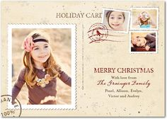 Christmas Cards Holiday Postage - Front : Almond