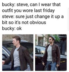Bucky and See in similar outfits