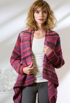 Stunning and slimming, the Drape Front Knit Cardigan is a unique piece you'll love pulling out any season of the year. This bohemian-chic knit cardigan pattern features a elongated, cascading front and a subtle lace design. Lovely in both solid and variegated yarn types, this artistic knit cardigan pattern is a go-to for creative dressers who crave comfort and style.