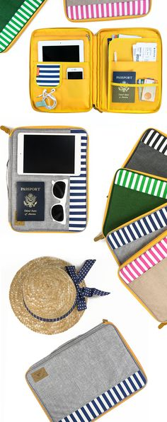 Sail away in an orderly fashion! This charming sailor-inspired pouch has 11 useful pockets so each of your belongings has its rightful place, making organization an absolute breeze! You can store your travel must-haves like your passport, boarding pass, iPad, planner, maps, magazines, or a guidebook. It is even padded to protect electronics like a 13 inch Macbook Pro! With a carry-on as convenient as this cute organizer, you can relax your troubles away~ Check it out for your next vacation…