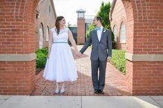 bride and groom wedding photo tea length dress davids bridal mens warehouse