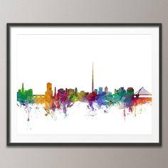 Dublin Skyline Dublin Ireland Eire Cityscape Art Print by artPause Cityscape Art, Skyline Art, Dublin Skyline, Paint Splash, Print Format, Dublin Ireland, Easy Paintings, Watercolor Art, Graphic Art