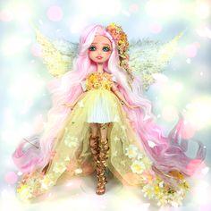 Doll repaint MLP Fluttershy by Hextian Monster High Clothes, Custom Monster High Dolls, Monster High Repaint, Custom Dolls, Fluttershy, Ooak Dolls, Barbie Dolls, Ever After Dolls, Kawaii Doll