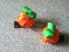 Set of Pumpkin Hair Clips by TheHairBowGallery on Etsy