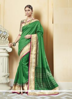 Awesome Patch Border Work Printed Saree Model: YOSAR6696