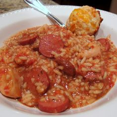 Crock-Pot Jambalaya - I made this one for dinner on Friday night with a little variation. I left out the chicken, and added a bag of (soaked the night before) beans. I used black, but I imagine just about any kind would be fine. Also, instead of the turkey sausage, I used Kielbasa because it's what I had on hand. I made the rice separate and served the sausage and beans over the rice. It was SO good! A super cheap, hearty, cozy meal!