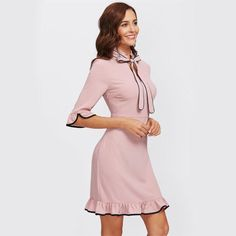 Pink Tie Neck Contrast Ruffle Dress