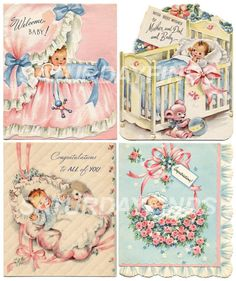New Baby No 12 of 12 Vintage Greeting Cards  by saturdayfinds, $3.25