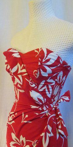 64a3540e36e8 Alfred SHAHEEN Hawaiian Sarong Dress 1950s RED by oldfaithfulinc, $325.00  Pin Up Dresses, 50s