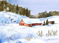 """Ray's Red Barn Snowed In"" - Digital watercolour, in Snowy Landscapes Watercolour Painting, Watercolors, Sip N Paint, Winter Sky, Winter Landscape, Wonderful Things, Painting Inspiration, Evergreen, Art Lessons"