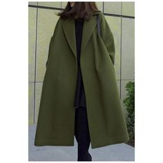 Retro Style Notched Lapel Split Sides Belt Waist Plain Tunic Coat (633.690 IDR) ❤ liked on Polyvore featuring outerwear, coats, retro coat and green coat