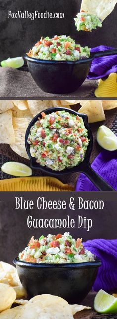 Blue Cheese and Bacon Guacamole Dip boasts all of the classic guacamole flavors, plus the briny taste of blue cheese, while the smoky crunch of crisp bacon is infused throughout! ( the version Michael Simon ate had sage in it too) Recipes Appetizers And Snacks, Appetizer Dips, Dip Recipes, Pork Recipes, Mexican Food Recipes, Cooking Recipes, Sweets Recipes, Yummy Recipes, Healthy Recipes
