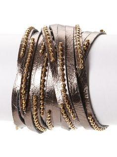 60% OFF Presh Gunmetal Multi-Strap Leather Bracelet