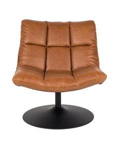 Dutchbone+Bar+Loungestol+-+Brun+-+Smart+lounge+stol+fra+Dutchbone+lavet+i+kunstlæder+med+vintage-look.+Med+PU-skum+og+en+skal+lavet+i+krydsfinér.+Den+drejbare+fod+er+lavet+i+sort+stål.+Siddehøjde:+47+cm+og+sædedybde:+45+cm