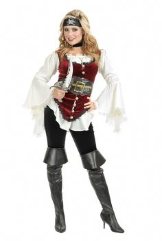 Ladies Victorian Steampunk Pirate Vest - Batten down the hatches and button up this flirty, luxurious lady pirate vest. Your shipmates will voluntarily walk the plank when they see you roll in to a pirate themed summer BBQ or Halloween party. This velvety vest is super versatile and could be a base piece for a Victorian outfit or even Steampunk.  #yyc #costume #steampunk
