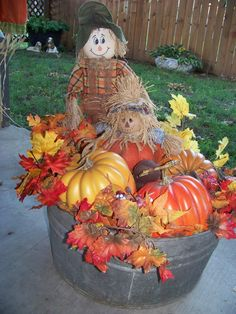 wash tub fall decorations - Google Search