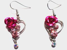 Women's Pink Heart Rose Hook Dangle Earrings Pink/Clear Crystal Silver Plated #Unbranded #DropDangle