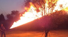 MAN INVENTED HIS PERSONAL FLAMETHROWER AND SET TREES ON FIRE!