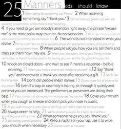 25 Manners Kids (and adults) should know!