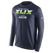 Seattle Seahawks Nike Super Bowl XLIX Bound Long Sleeve T-Shirt - College Navy